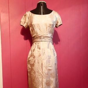VTG Champagne Rose Brocade Cocktail Dress